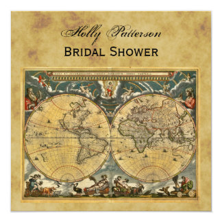 Mapa do mundo antigo, chá de panela QUADRADO Convite Quadrado 13.35 X 13.35cm