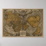 Mapa do mundo antigo do clássico 1531 pela multa d pôsteres