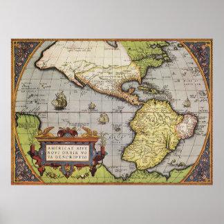 Mapa do mundo antigo dos Americas 1570 Posters