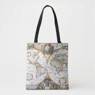 Mapa do mundo antigo por Hendrik Hondius, 1630 Bolsa Tote