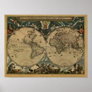 Mapa do mundo antigo por Joana Blaeu, cerca de Pôster