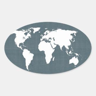 Mapa do mundo. azul e branco adesivo oval