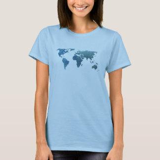 Mapa do mundo azul legal camiseta