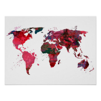 Mapa do mundo da arte abstracta pôster