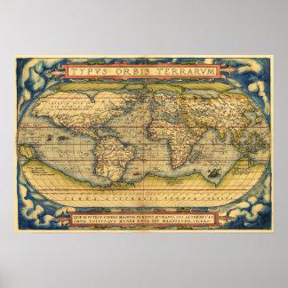 Mapa do mundo de 1570 poster