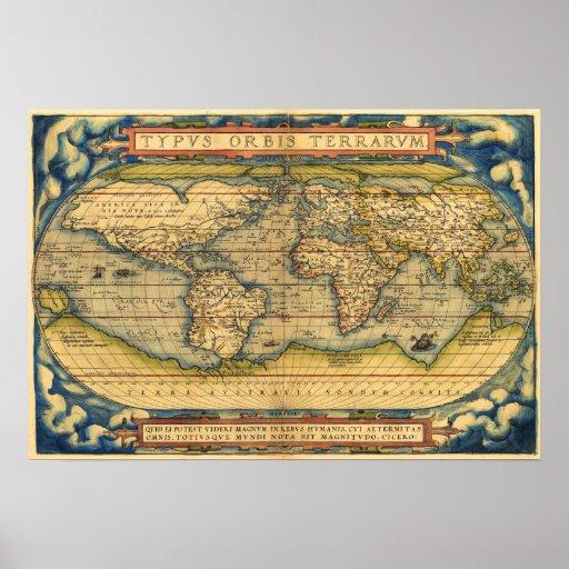 Mapa do mundo de 1570 posteres