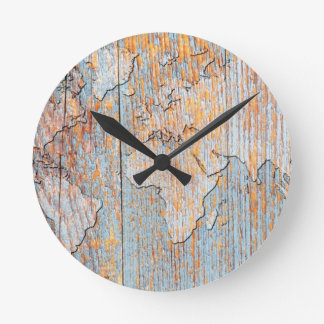 Mapa do mundo de madeira artístico relógio de parede