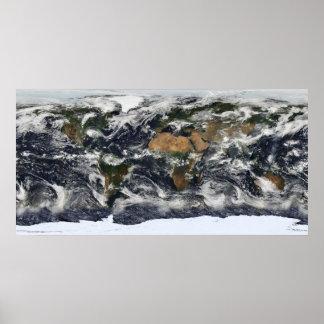 Mapa do mundo de MODIS Pôster