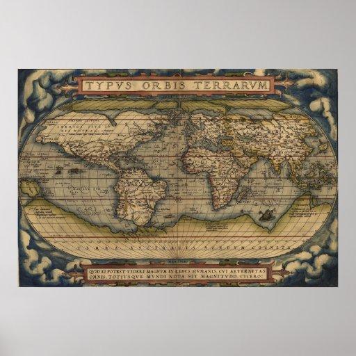 Mapa do mundo de Ortelius Typvs 1570 Orbis Terrarv Posteres