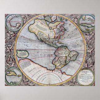 Mapa do mundo do atlas do vintage poster