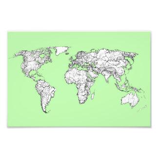 Mapa do mundo do verde limão impressão fotográfica