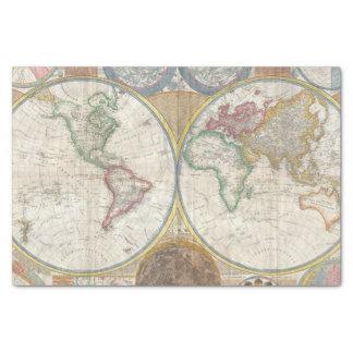 Mapa do mundo do vintage papel de seda