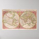 Mapa do mundo dobro do hemisfério, 1587 impressão