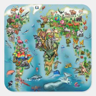 Mapa do mundo dos animais adesivo quadrado