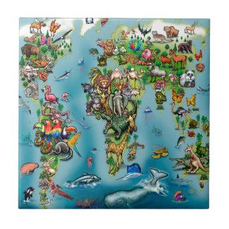 Mapa do mundo dos animais azulejo quadrado pequeno
