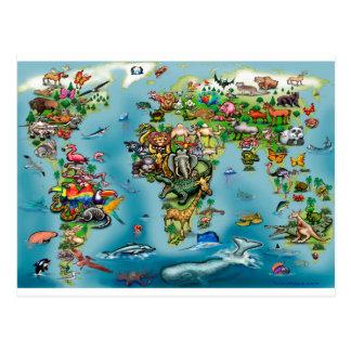 Mapa do mundo dos animais cartão postal