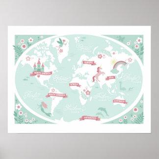 Mapa do mundo Enchanted - a arte das crianças Pôster