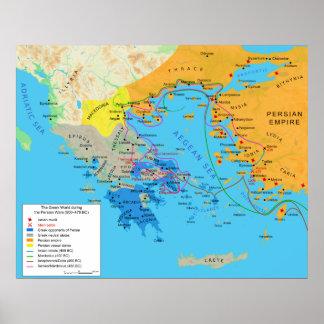Mapa do mundo grego durante guerras do persa de Gr Posteres