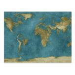 Mapa do mundo inundado cartões postais