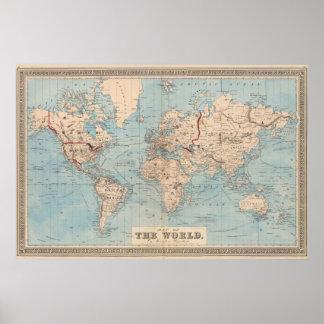 Mapa do mundo na projeção de Mercator Pôster