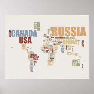Mapa do mundo nas palavras pôster