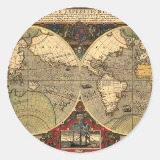 Mapa do mundo náutico antigo adesivo