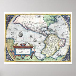 Mapa do mundo novo 1570 de Americas Posteres