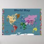 Mapa do mundo para miúdos - azul com bandeiras posteres