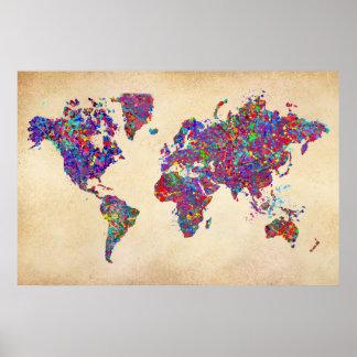 Mapa do mundo, pintura da ação pôster