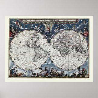 Mapa do mundo por Joana Blaeu - 1664 Pôster