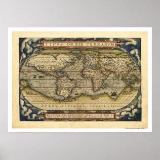 Mapa do mundo por Ortelius 1570 Poster