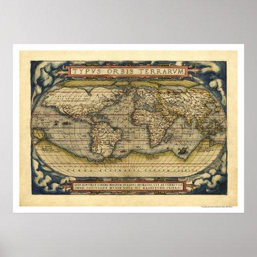 Mapa do mundo por Ortelius 1570 Posteres