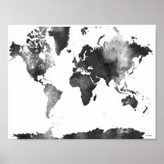 MAPA DO MUNDO preto e branco Poster