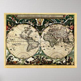 Mapa do mundo restaurado velho #2 pôster