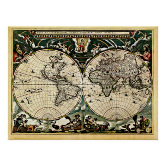 Mapa do mundo restaurado velho #2 poster