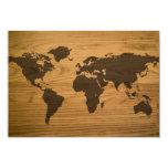 Mapa do mundo Textured Woodgrain Convite 8.89 X 12.7cm