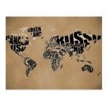 Mapa do mundo tipográfico cartoes postais