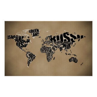 Mapa do mundo tipográfico impressão