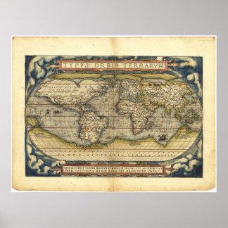 Mapa do mundo Typus Orbis Terrarum por Abraham Ort Poster