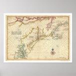 Mapa do nordeste 1639 dos EUA da costa Poster
