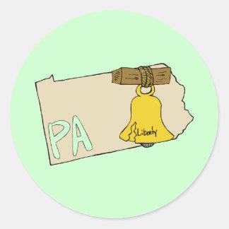 Mapa do PA de Pensilvânia com arte dos desenhos Adesivo Em Formato Redondo