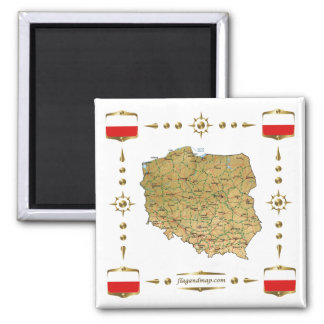 Mapa do Polônia + Ímã das bandeiras Imas