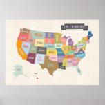 Mapa do poster dos EUA XL