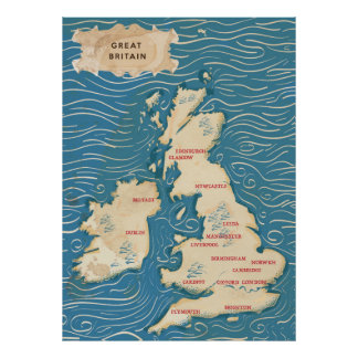 Mapa do poster vintage de Reino Unido