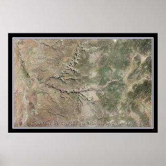 Mapa do satélite do monumento nacional de Garganta Pôster