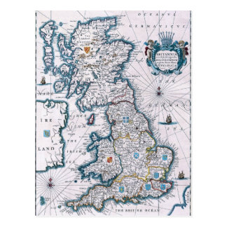 Mapa do século XVII antigo Cartão Postal