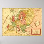 Mapa do século XVIII antigo do Moll de Europa Herm Posters