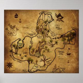 Mapa do tesouro a ilha de tesouro perdido poster