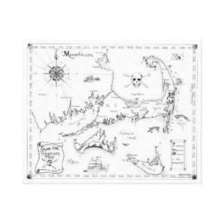 Mapa do tesouro de Cape Cod Impressão Em Tela