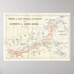Mapa do vintage, 1920, francês, Chemin de Fer, Eth Poster